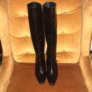 """Stuart Weitzman Alligator 3"""" Heel Knee High Boots"""